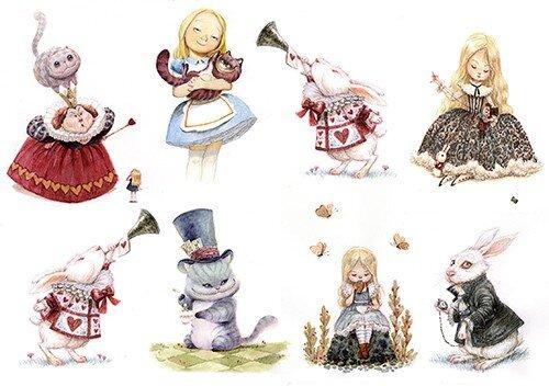 Алиса в стране чудес декупаж картинки