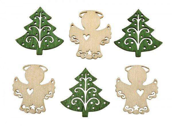 резные фигурки из дерева ангелы и елочки